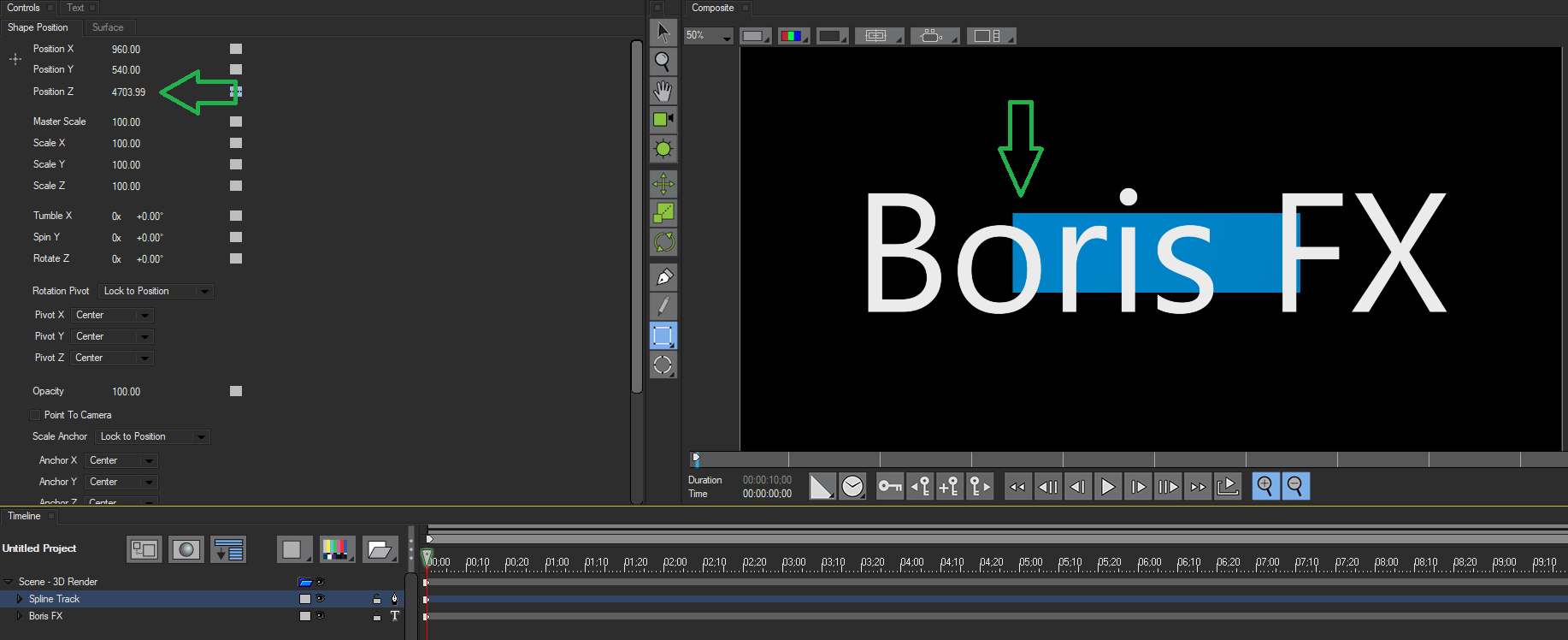 Boris FX | Title Studio: The Render Tab