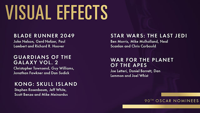 Visual Effects Nominees: Oscars 2018