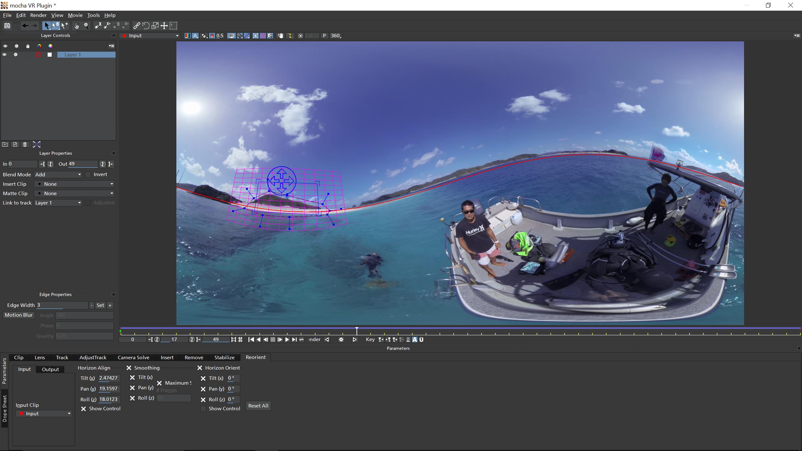 Mocha VR's horizon stabilize toolset