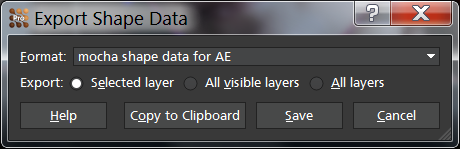 Export shape data dialog