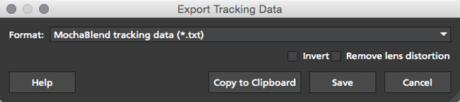 4.1.3 Export MochaBlend Track Data