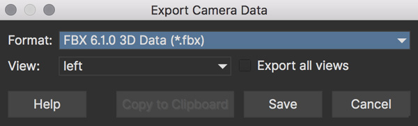 Stereo Export Camera Data
