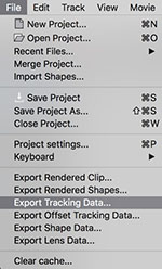 export tracking data filemenu