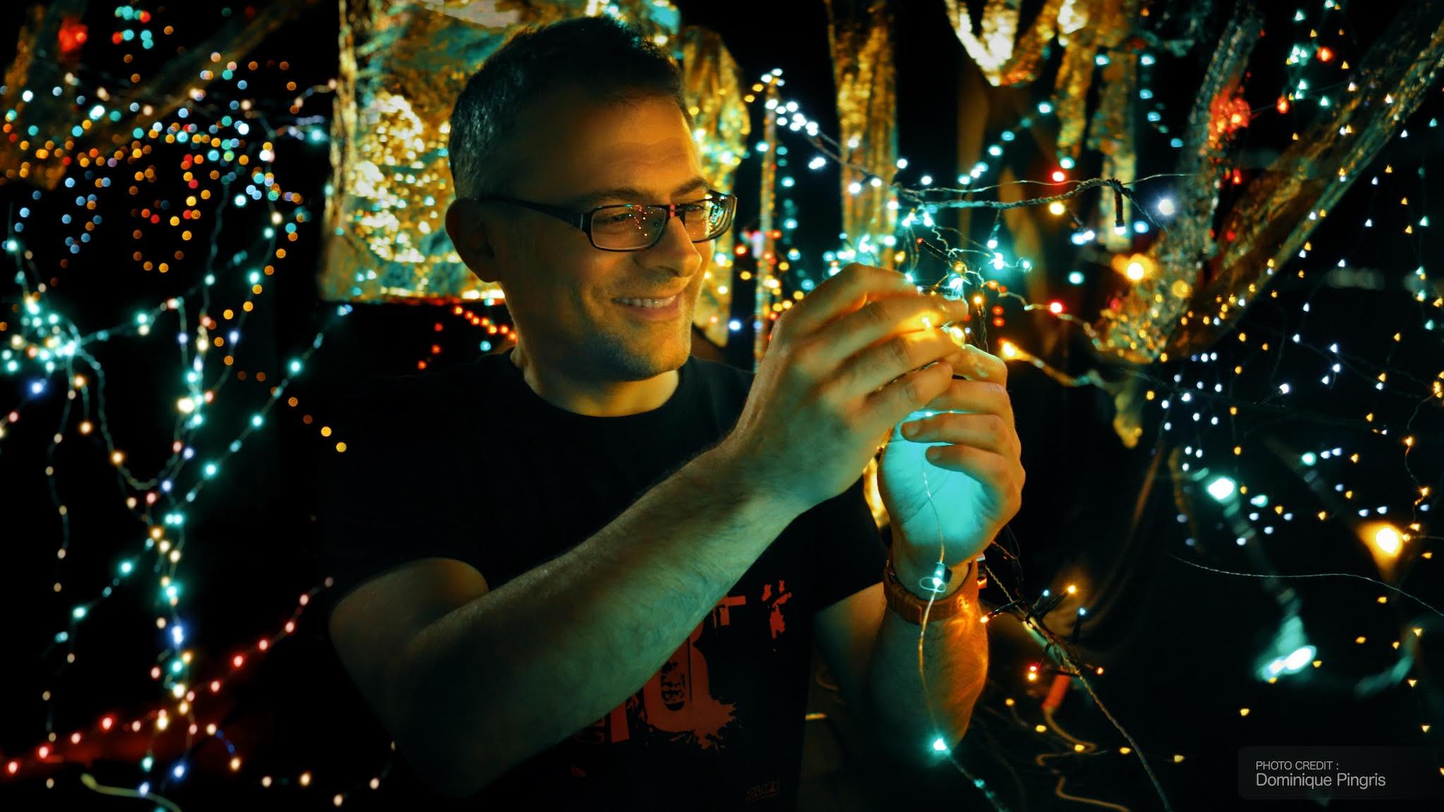 Director JM Marbach sets up LED lights