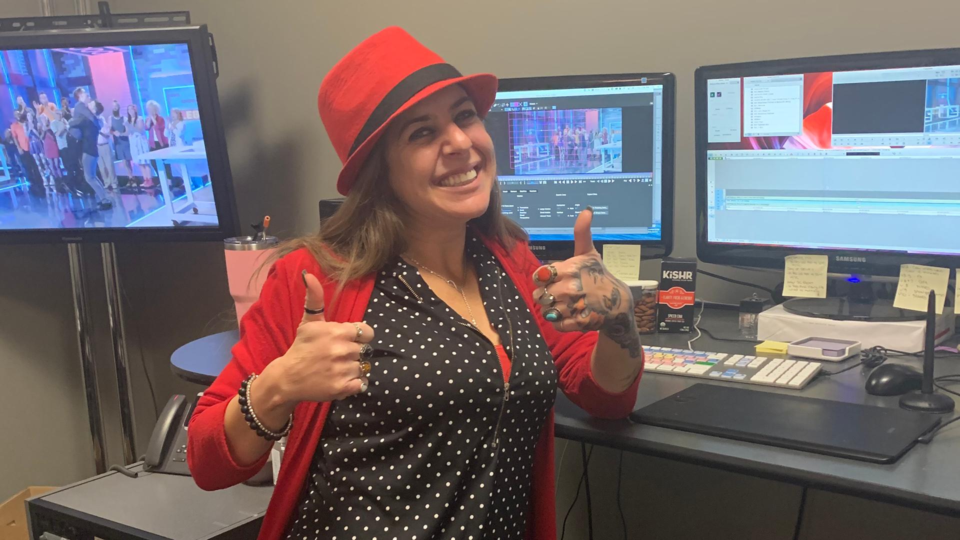 Monica Coonis at her workstation