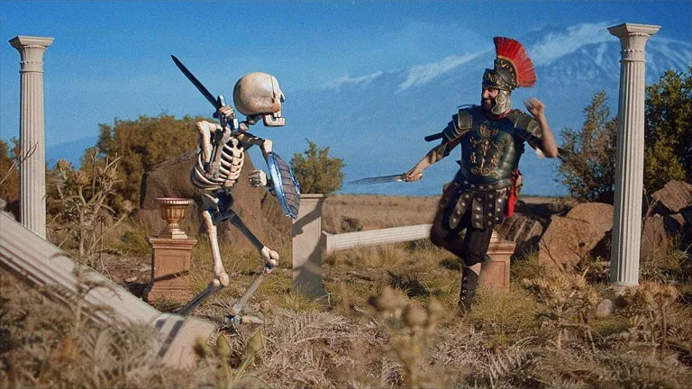 Rebooted still featuring stop-motion skeleton