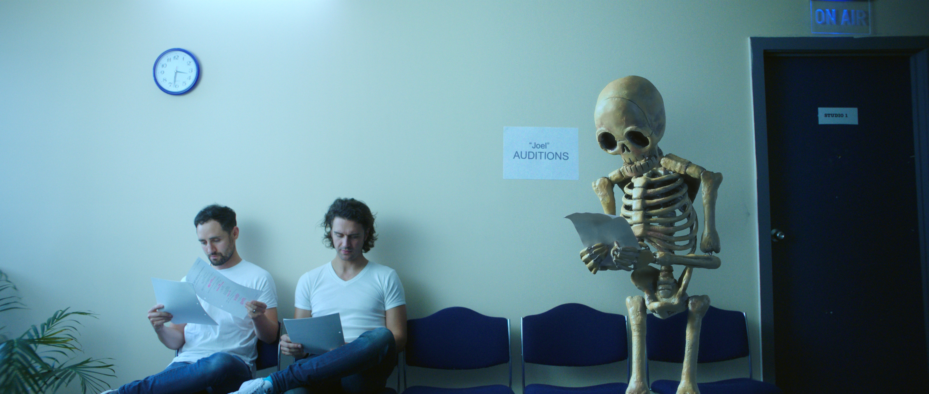 Stop motion skeleton at a film audition
