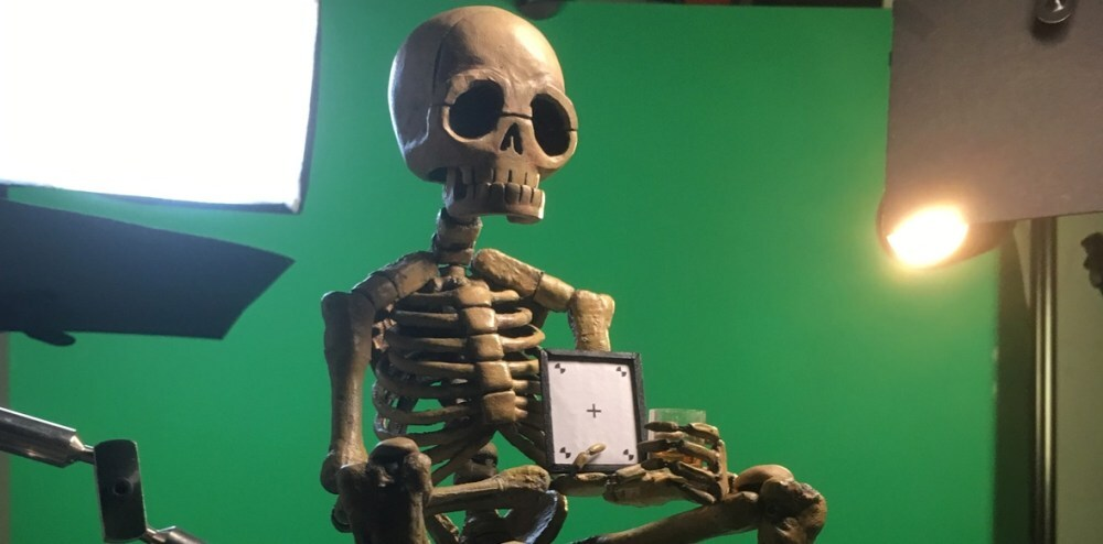 Stop motion skeleton with screen insert