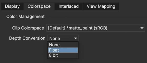 ocio clip colorspace depth