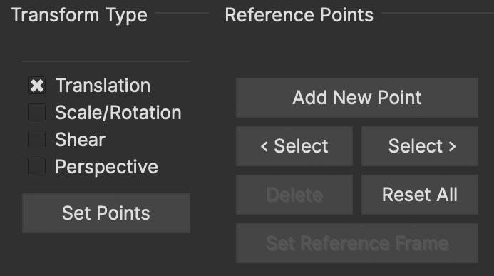 adjusttrack transform reference points