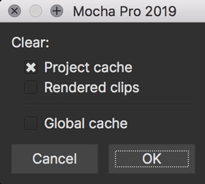 clear cache dialog