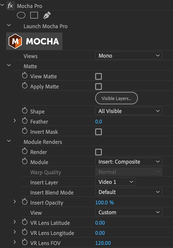 mochapro premiere plugin full interface