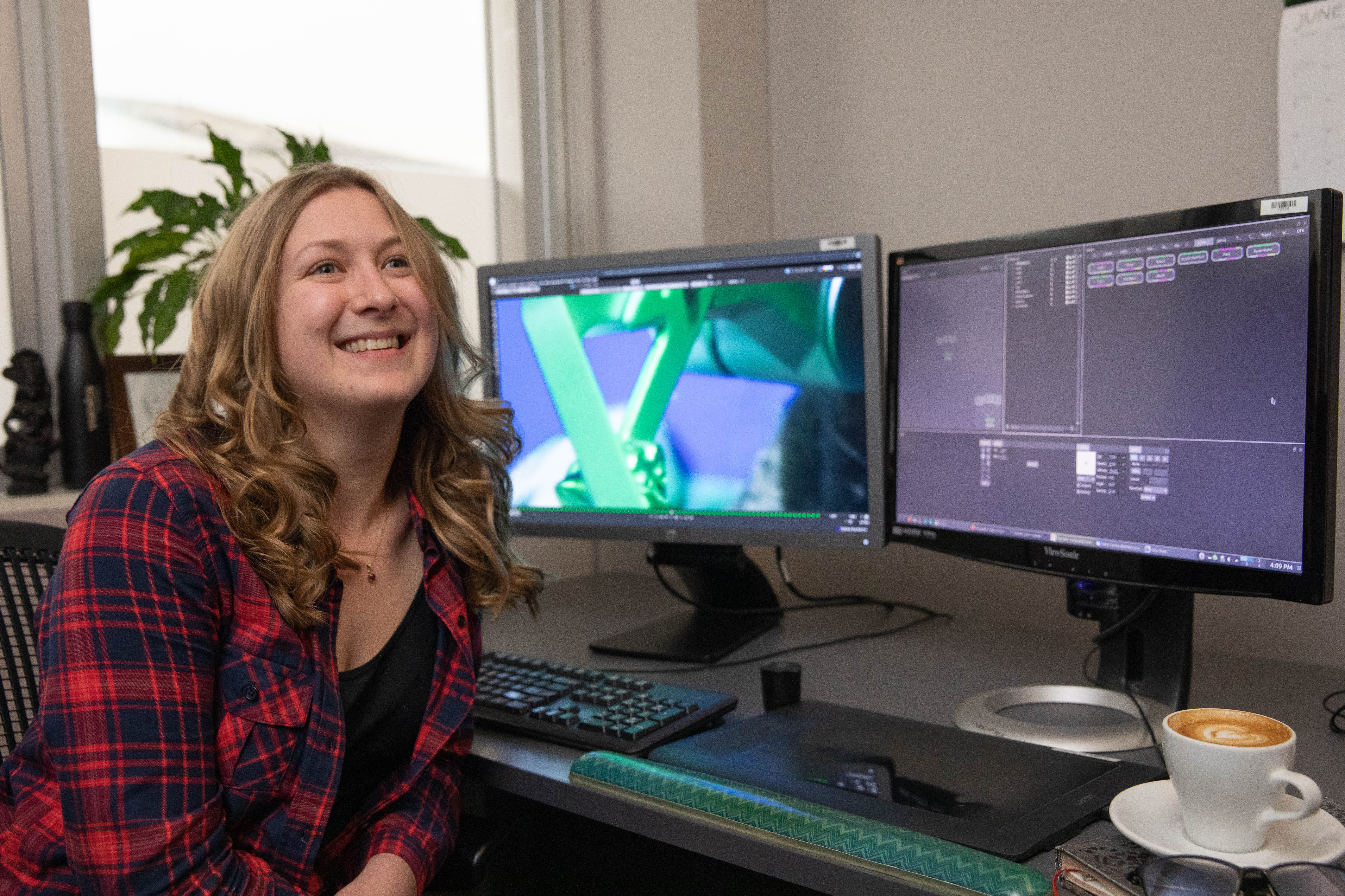 Portia McLean at her Weta workstation
