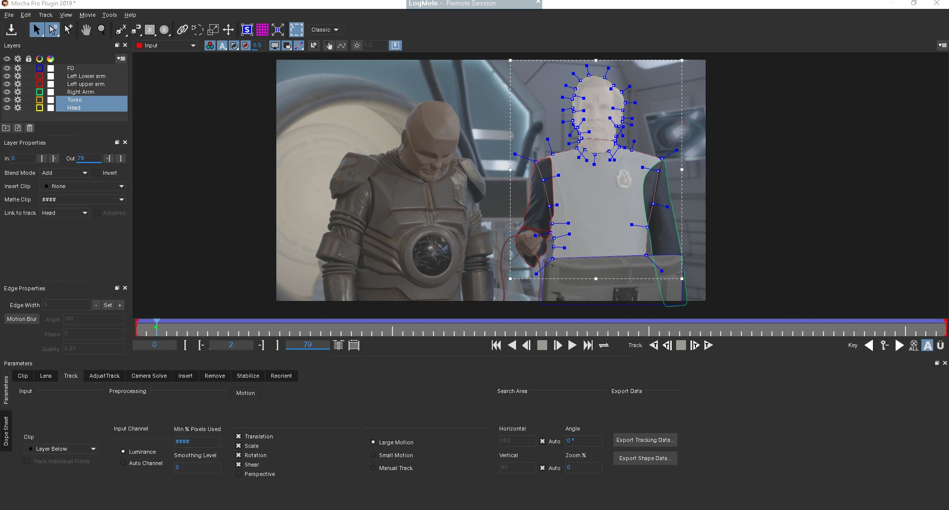 Rimmer tracked in Mocha Pro interface