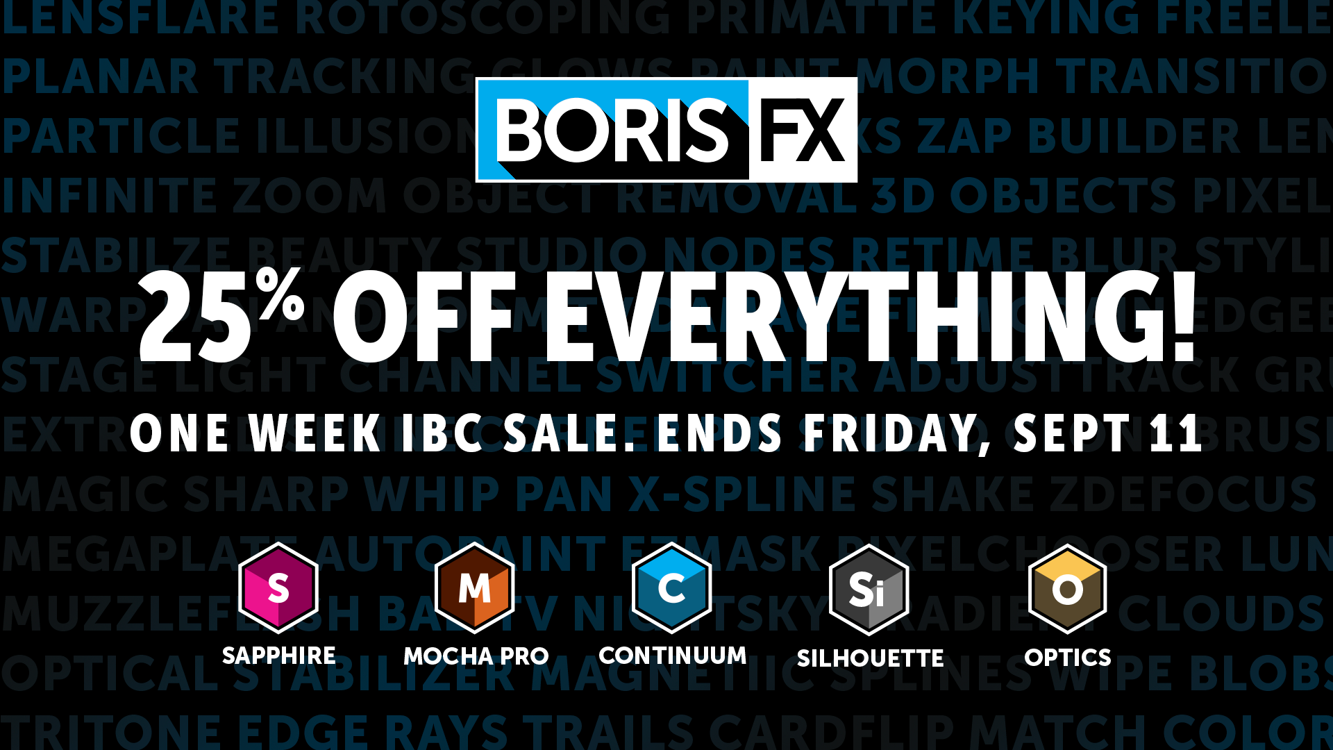 Save 25% on Boris FX products through Sept 11, 2020