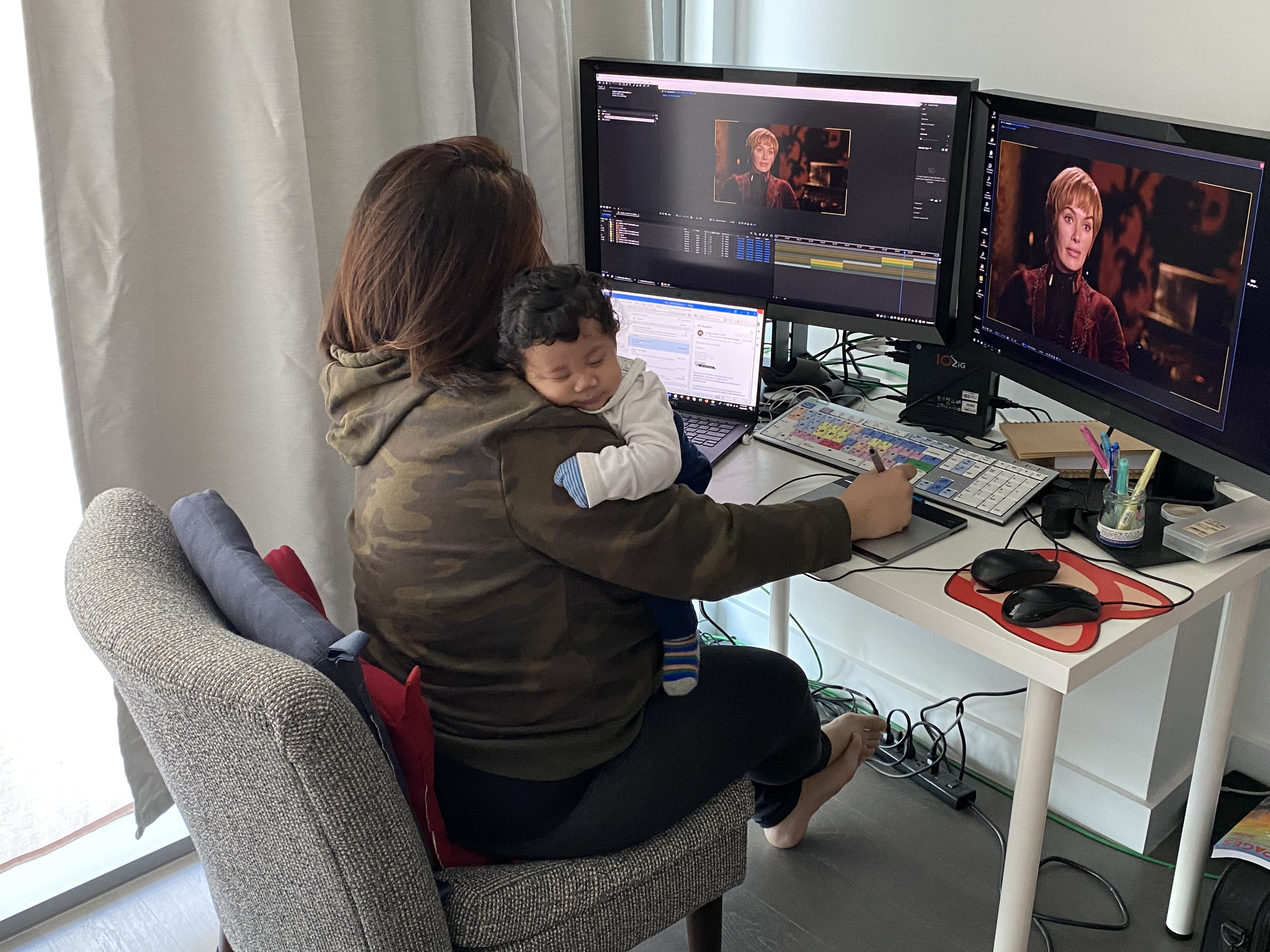 Debra Khoo works from home on Game of Thrones
