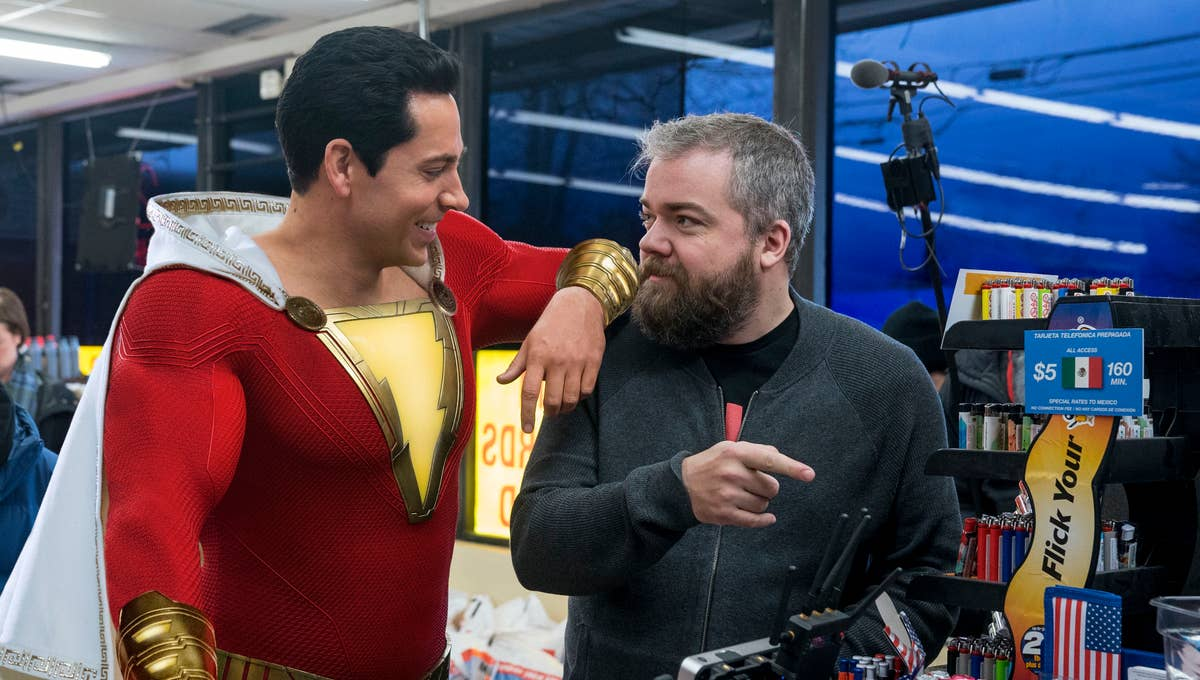 David. F. Sandberg with Zachery Levi on the set of Shazam!