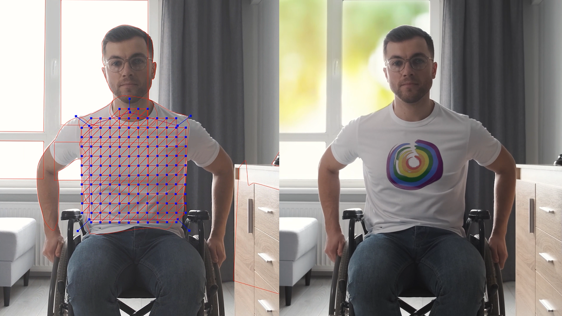before & after of Mocha Pro 2022 new Insert Module with PowerMesh tracking