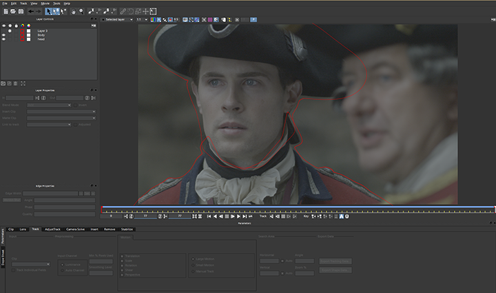 Outlander, tracking masks in Mocha AE, left actor