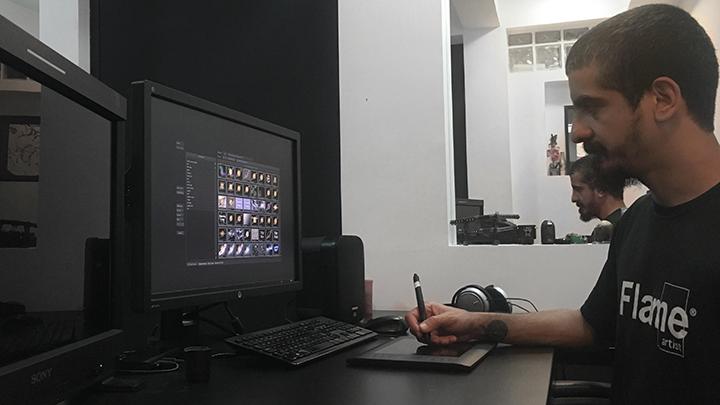 Jorge Pereira at his workstation
