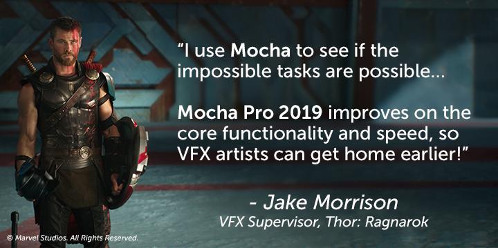 Mocha Pro 2019 - Jake Morrison quote, Thor: Ragnarok