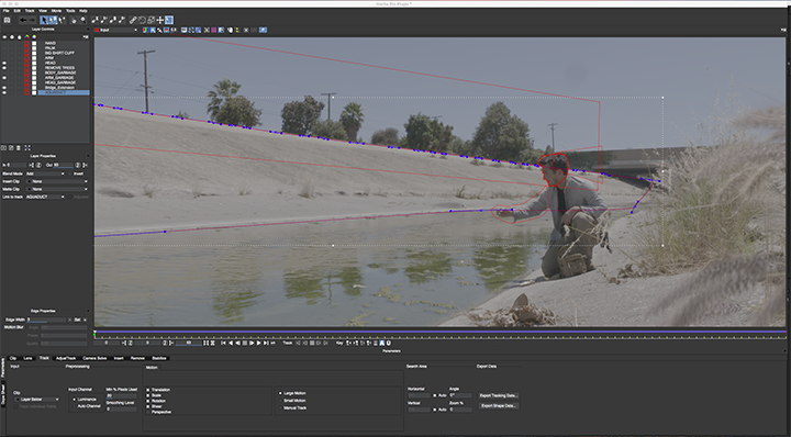 Thirst: Image of Mocha interface with actor being rotoscoped