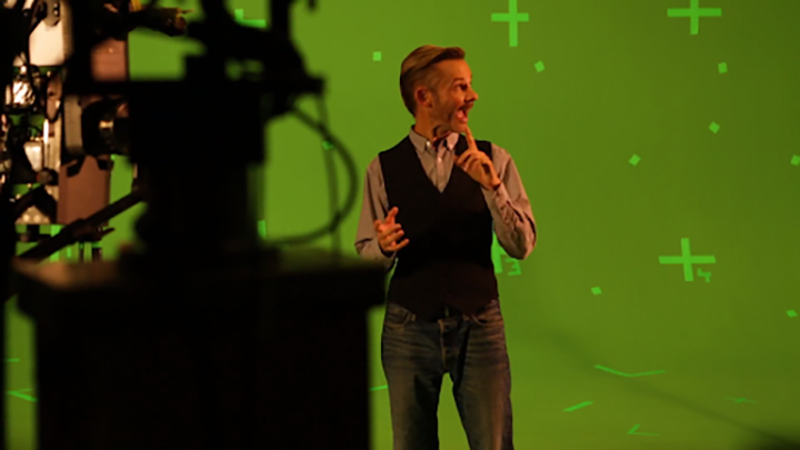 image of Dominic Monaghan shooting A Curious Mind in front of green screen