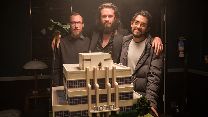 Co-directors Jeff Desom and Carlos Lopez Estrada with Father John Misty