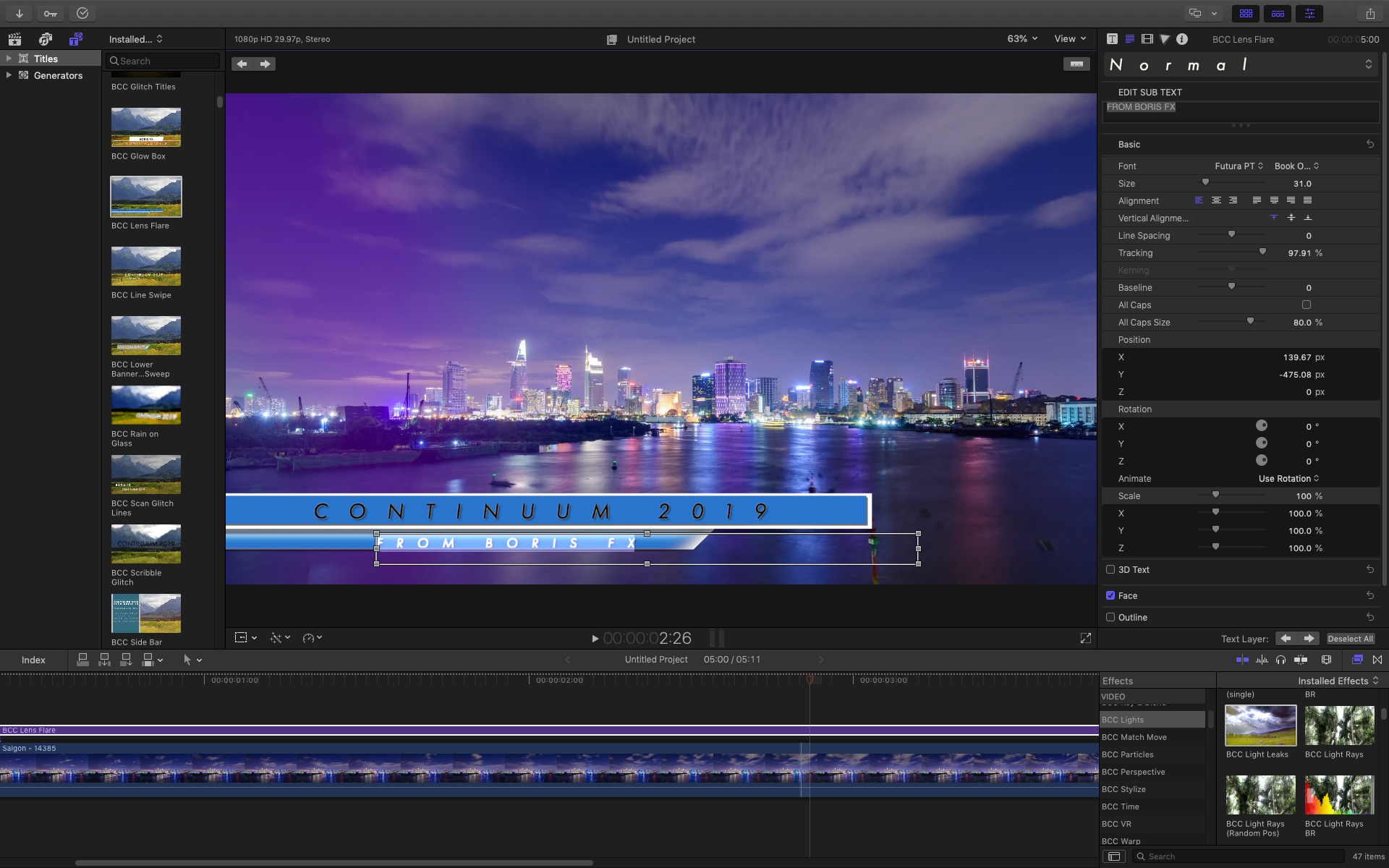 Example of new titling template in Continuum 2019 for FCP X