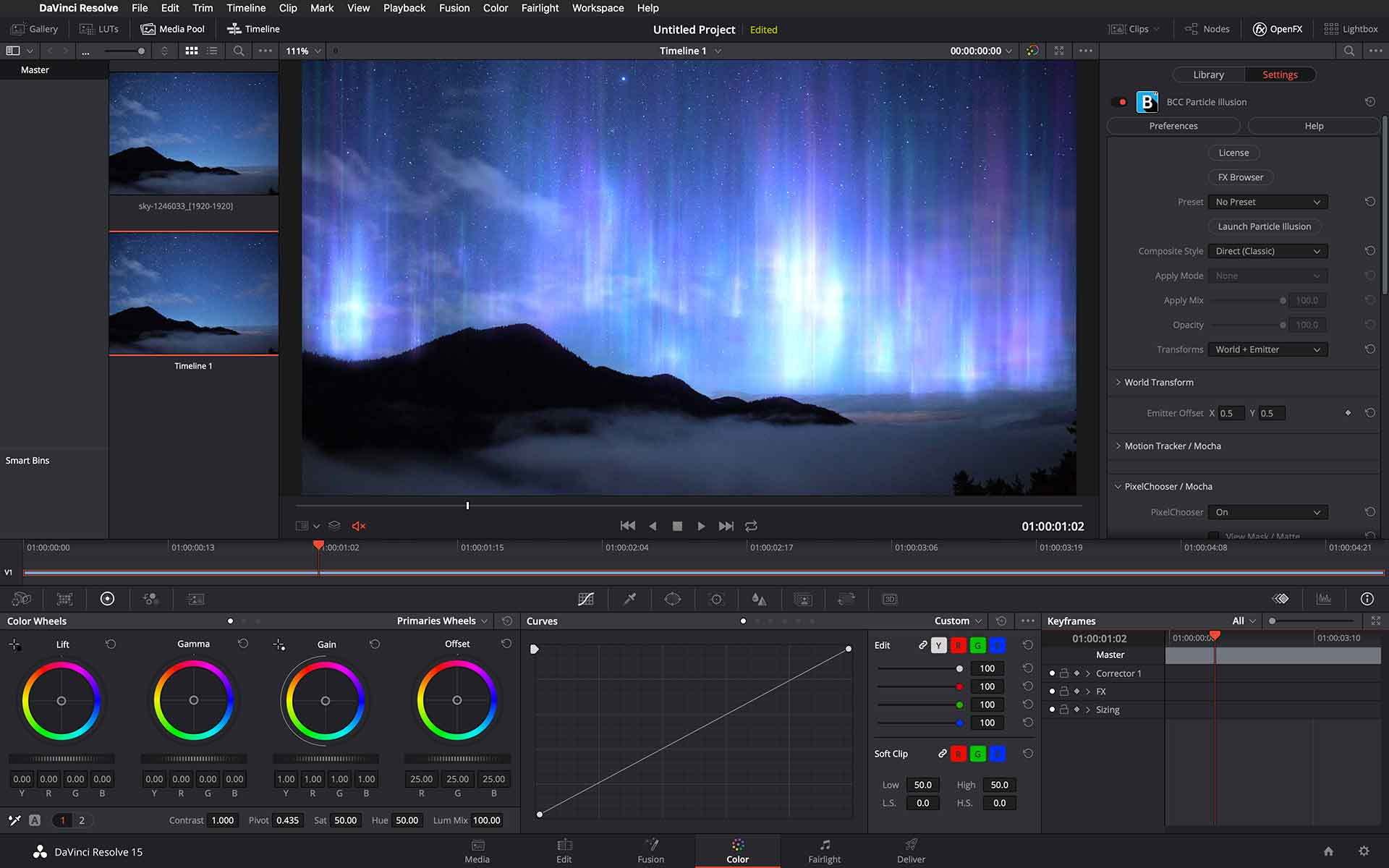 Image of Particle Illusion inside DaVinci Resolve interface