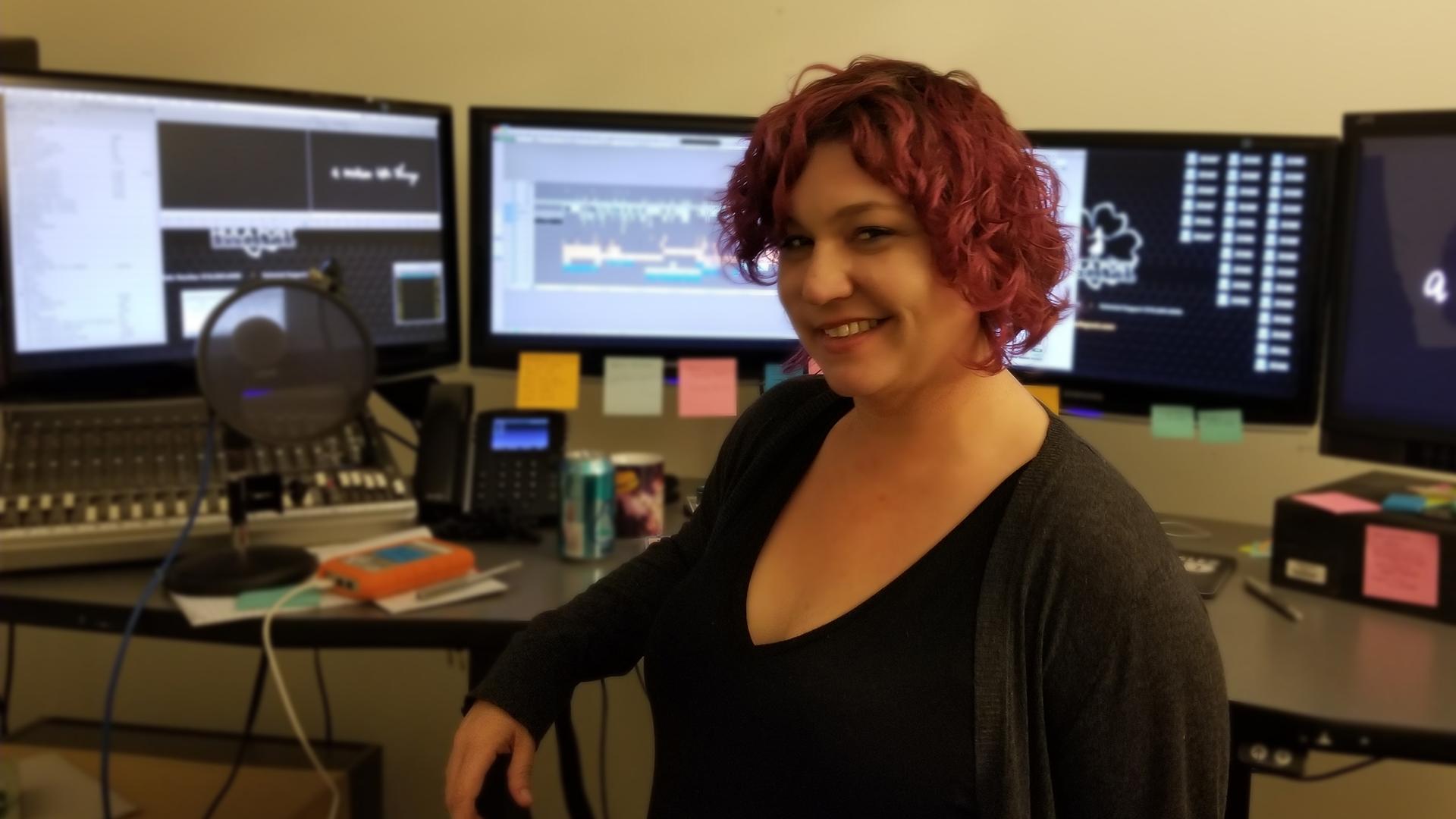Llana Lewis at her editing workstation
