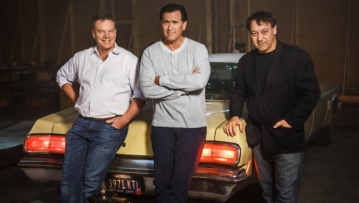 SyFy press image featuring Bruce Campbell and Sam Raimi