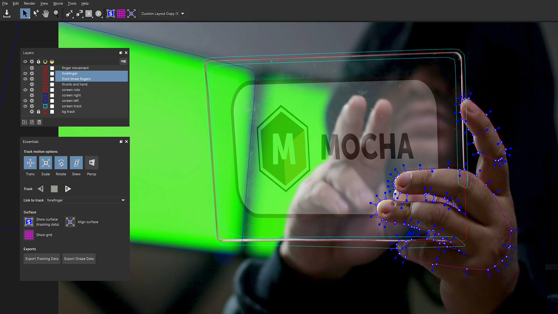 Image of new edge-snapping feature in Mocha Pro