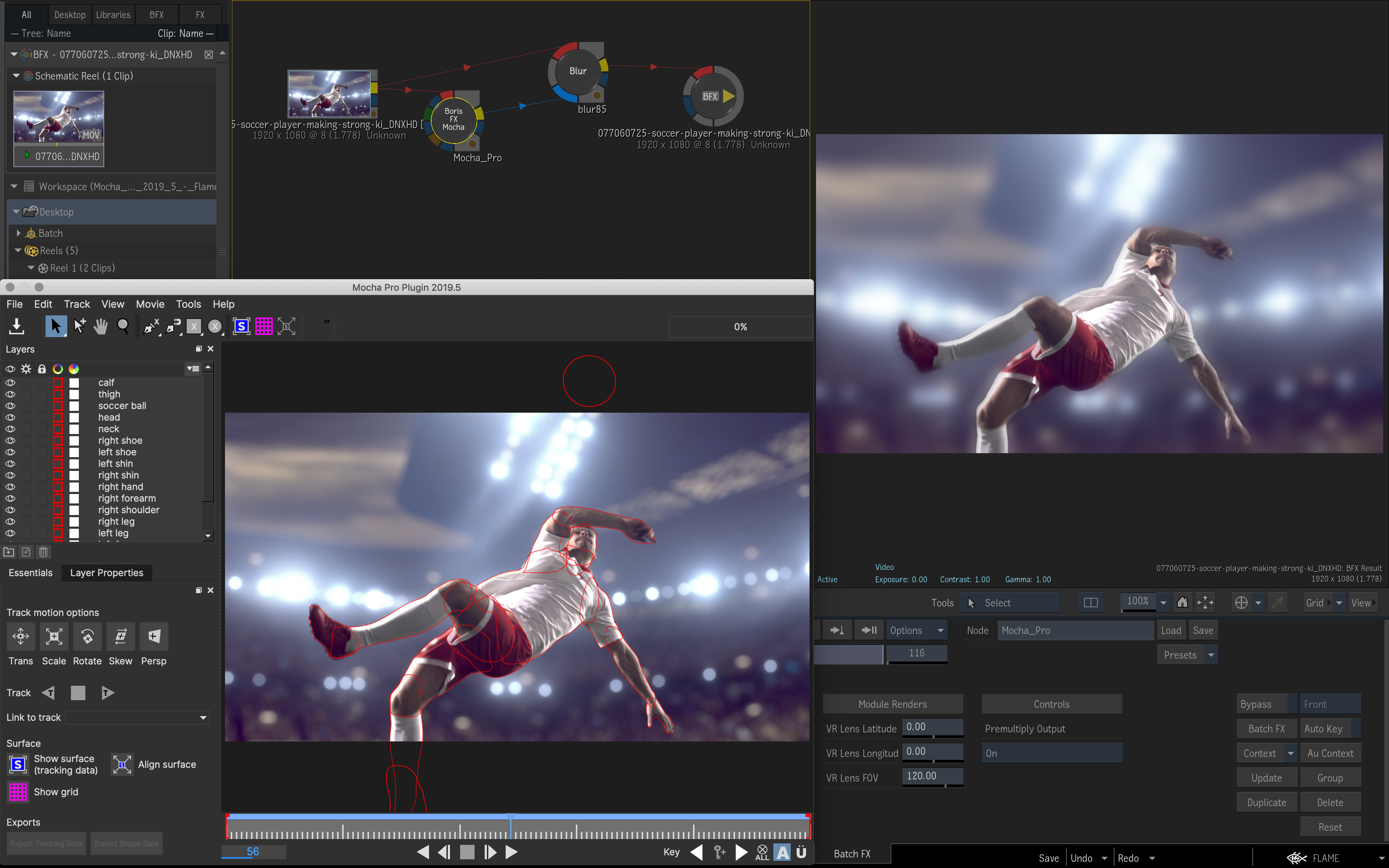 Interface of Mocha Pro 2019.5 plug-in running in Autodesk Flame 2020