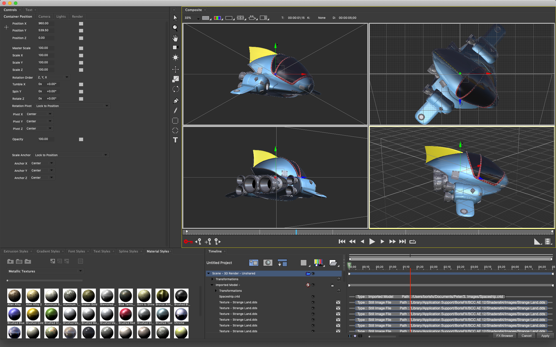 Title Studio interface showing new Maxon Cinema 4D model import integration