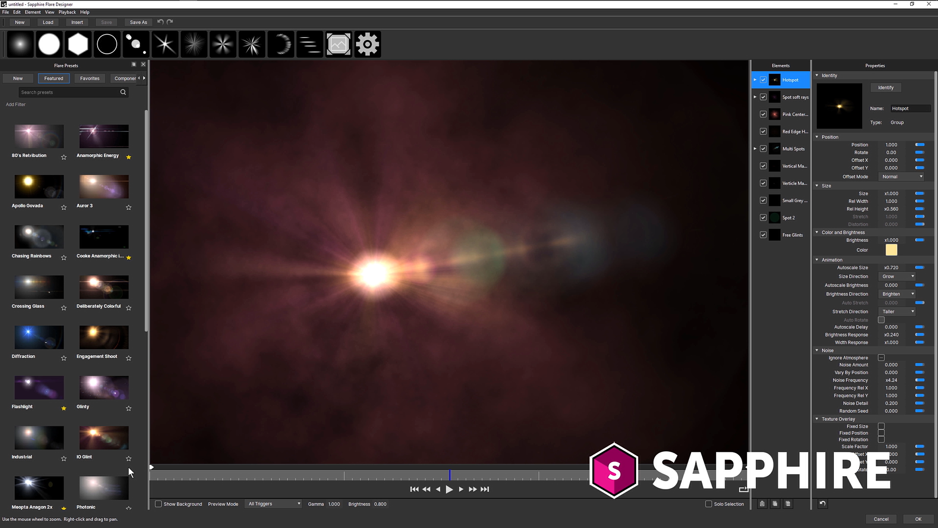 Sapphire Lens Flare interface