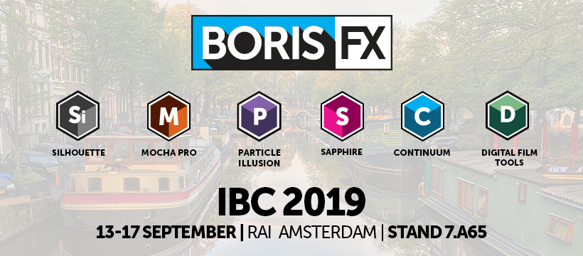 Boris FX product lineup at IBC featuring Silhouette, Mocha, Sapphire, Continuum, and Digital Film Tools