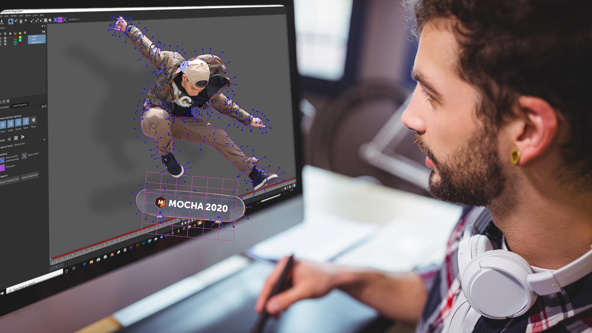 VFX artist using Boris FX Mocha Pro 2020
