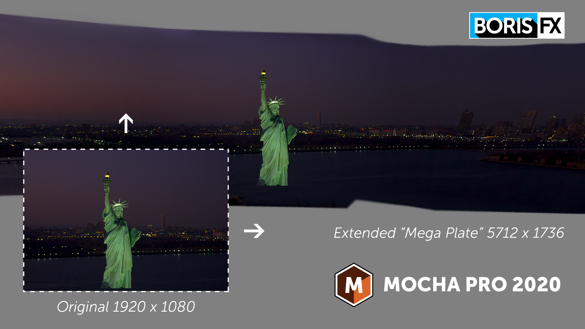 Example of extended stitched workflow using Boris FX Mocha Pro 2020's new Mega Plate module