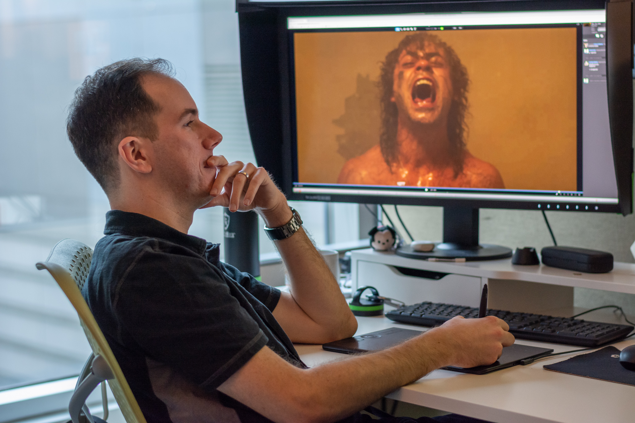 Andrew Scott at his workstation