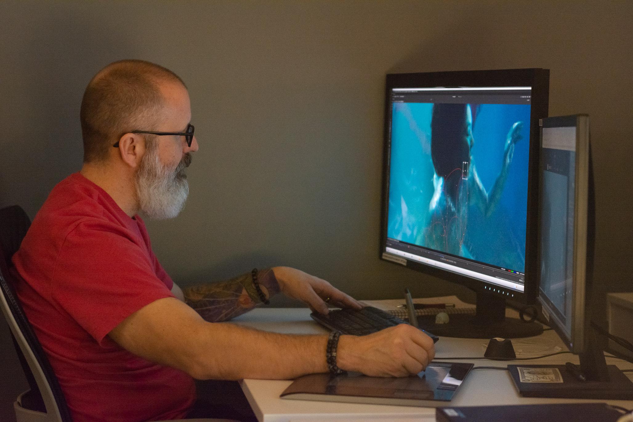 Eric Doiron at his workstation