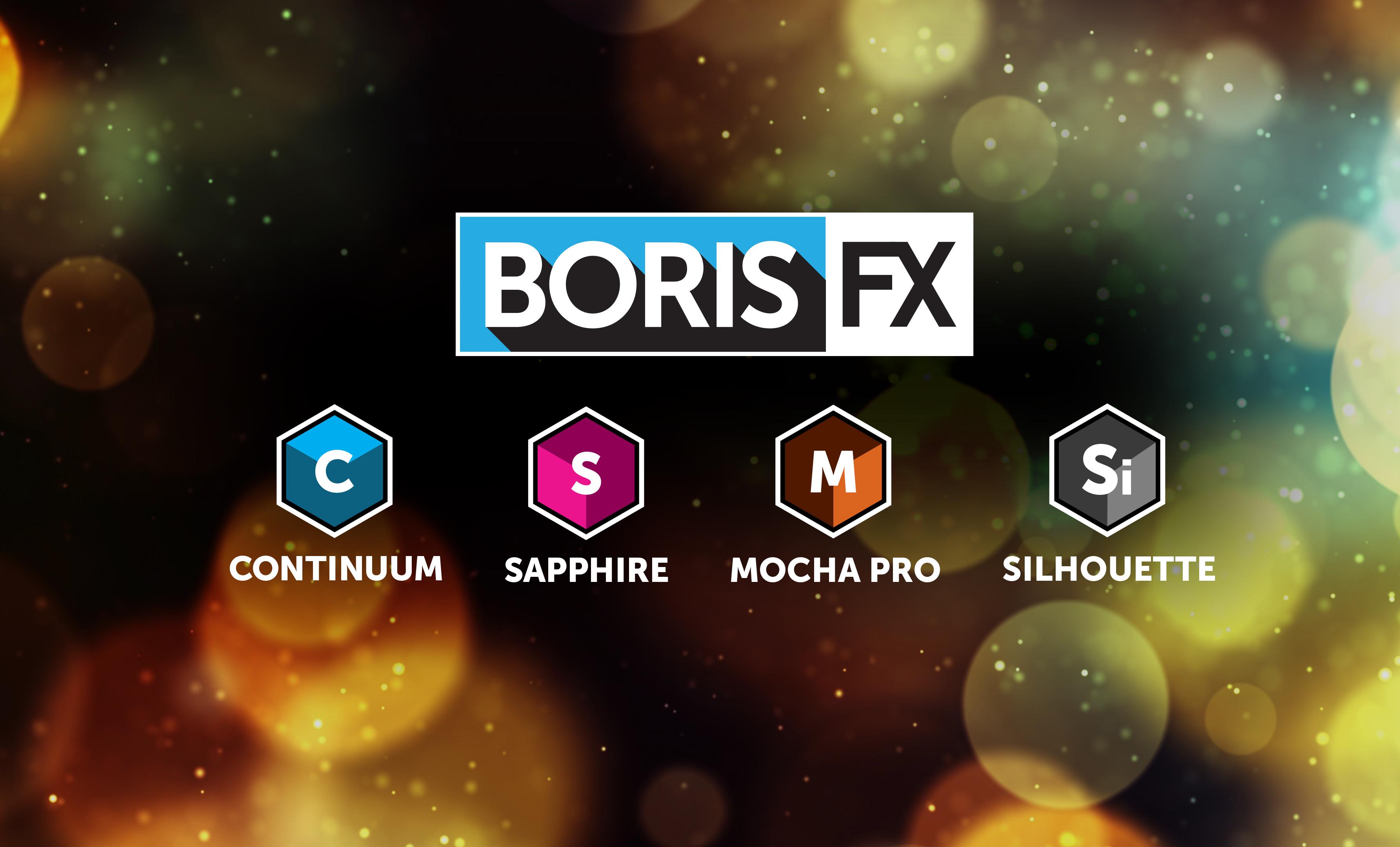 banner image featuring Boris FX Continuum, Sapphire, Mocha Pro, Silhouette