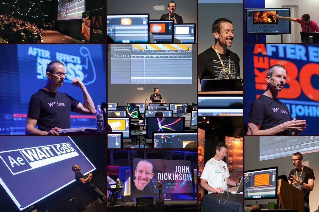 Motion graphics artist John Dickinson demos at various conferences
